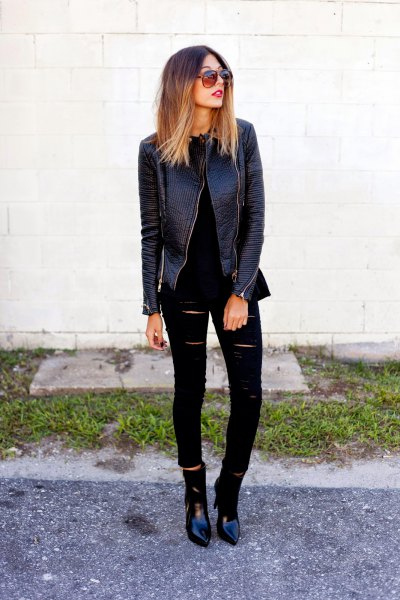 black leather jacket with ripped skinny jeans and pointed toe boots