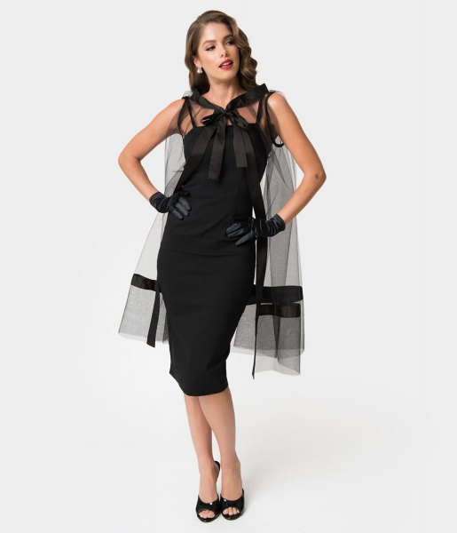 black midi bodycon pin up dress with sheer overlay