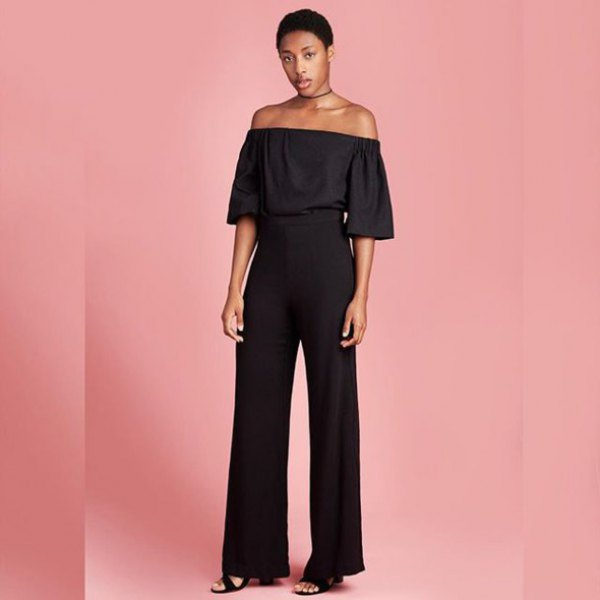 black off the shoulder blouse with high rise wide leg pants