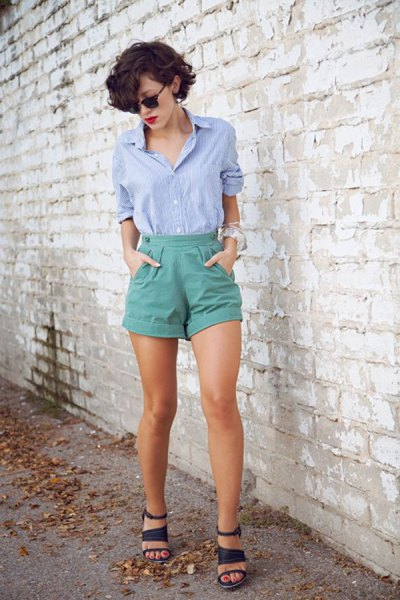 blue button up shirt with grey high rise vintage shorts