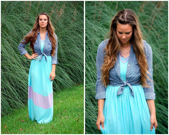 blue chambray knotted shirt with maxi chiffon dress