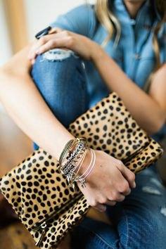 blue denim midi denim shirt dress with leopard print handbag