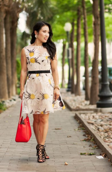 blush pink and yellow floral printed belted mini dress with heeled sandals