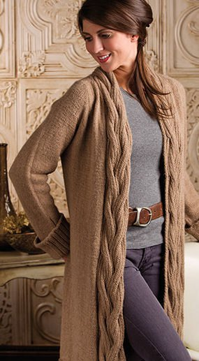 brown cable knit maxi cardigan with grey sweater and leather belt