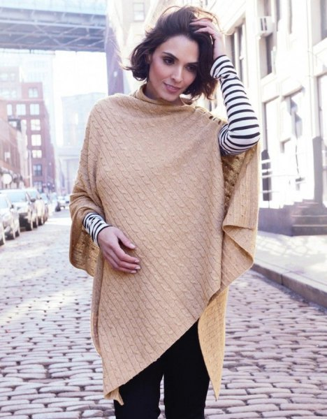 camel cable knit shawl with black and white striped long sleeve tee