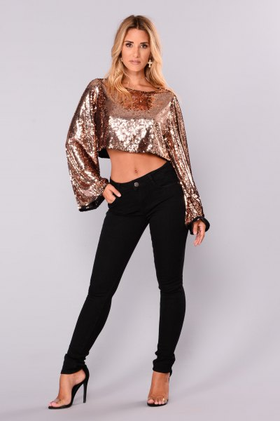 cropped silver sequin blouse with black skinny jeans