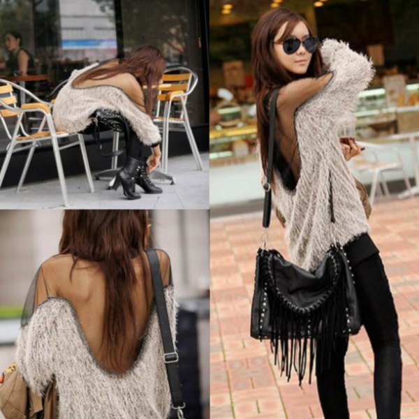 fuzzy two toned open back sweater with black skinny jeans
