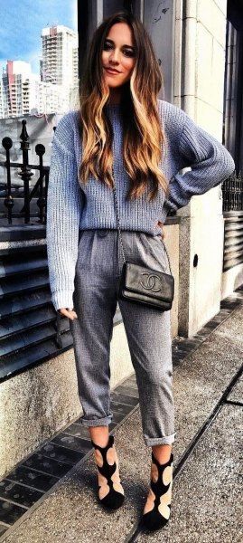 grey and white ribbed sweater with cuffed knit pants