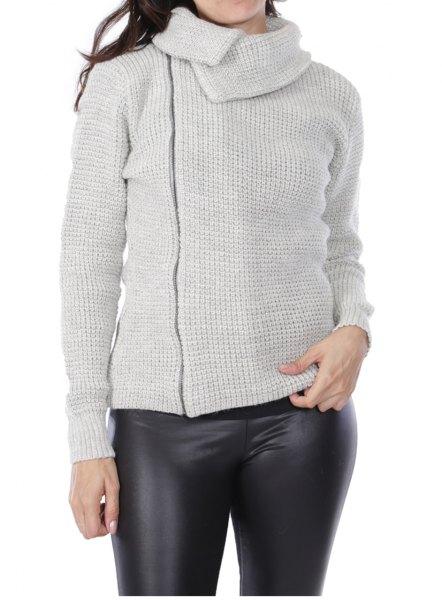grey asymmetric knit jacket with black leather leggings