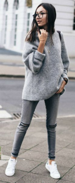 grey chunky fuzzy sweater with white sneakers