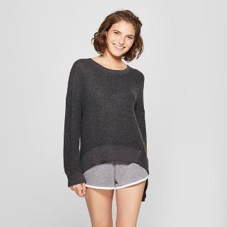 grey comfy sweater with mini sweatpant shorts
