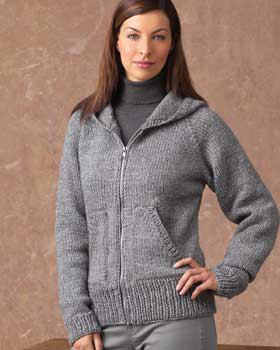grey hooded knit jacket with turtleneck pullover sweater