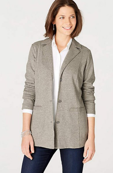 grey knit blazer jacket with white button up shirt