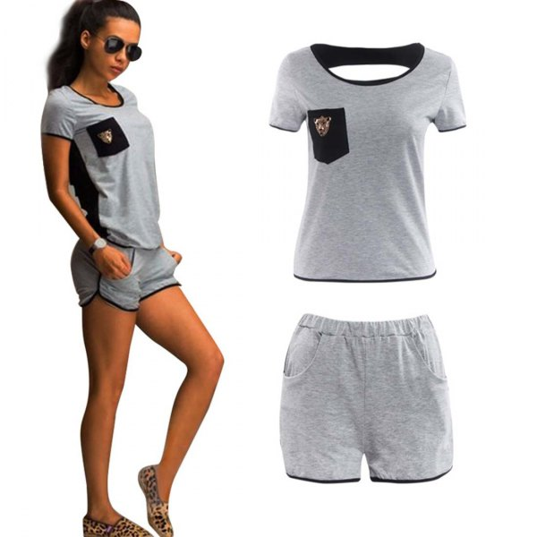 grey t shirt with mini sweat shorts and leopard print loafers