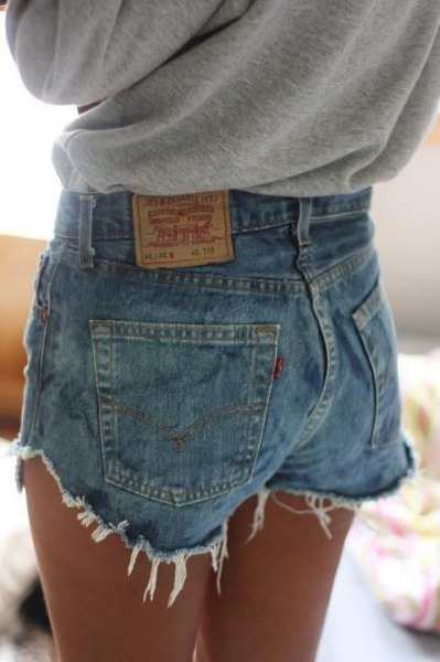 heather grey sweatshirt with blue levis high waisted denim mini shorts