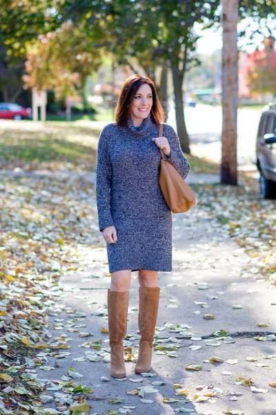 heather grey turtleneck sweater dress with camel suede knee high boots