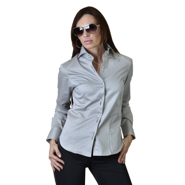 light grey silk formal shirt with black skinny jeans