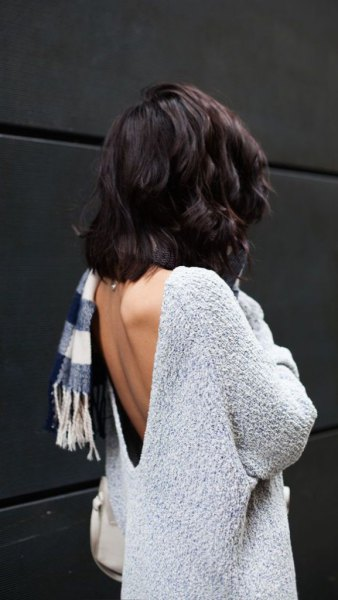 light heather grey sweater with plaid scarf