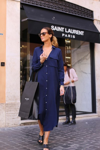 navy blue maxi coat dress with heeled sandals