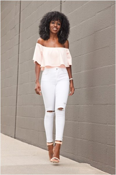 pale yellow off the shoulder blouse with white ripped skinny jeans