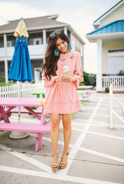 pink tribal printed mini boho style dress and wedge sandals