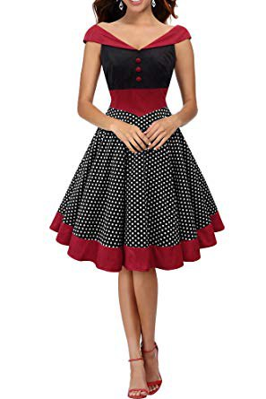 red and black v neck cap sleeve pleated flared midi dress