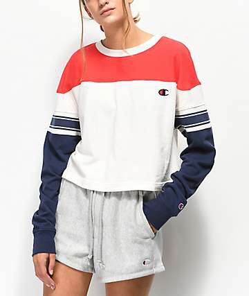 red white and navy blue color block sweatshirt with grey sweat shorts