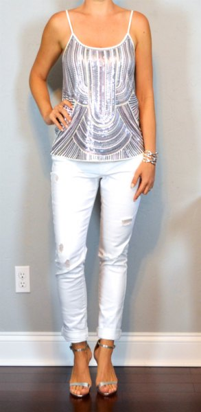 silver and white striped metallic tank top with ankle slim fit jeans