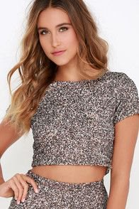 silver sequin cropped t shirt with matching high rise mini skirt