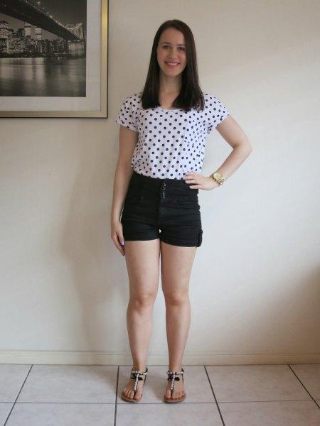 white and black polka dot short sleeve tee with mini denim shorts