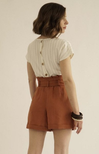 white and grey striped shirt with brown vintage high waisted shorts