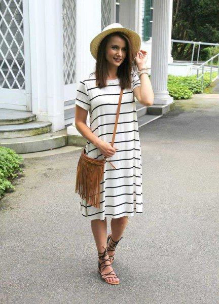 white and grey striped short sleeve midi shift dress with strappy summer sandals