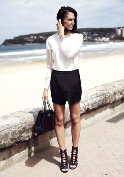 white button up shirt with skort and black lace up sandals