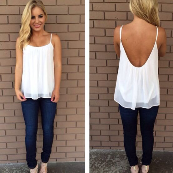 white chiffon backless dressy tank top with blue jeans