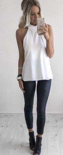 white halter tunic top with black cropped leggings