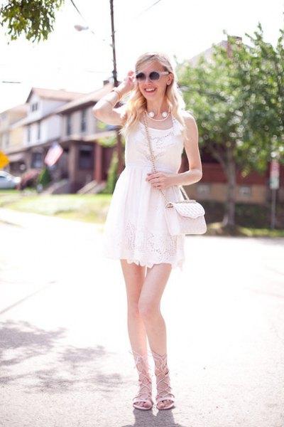 white lace mini chiffon sheath dress with lace up sandals