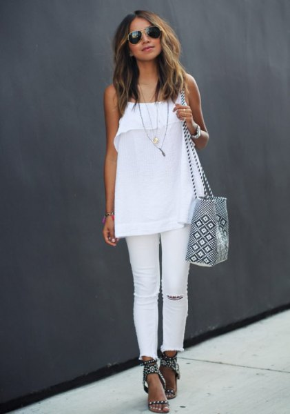 white spaghetti strap chiffon top with jeans and heeled black summer sandals