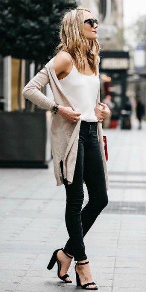 white spaghetti strap chiffon vest top and pale pink longline casual jacket