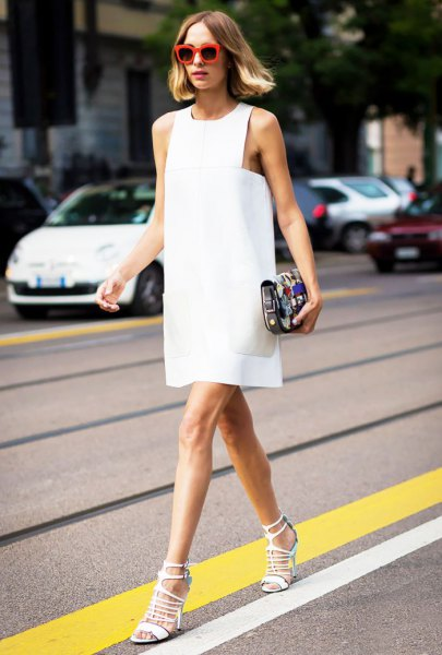 white tank shift mini dress with heeled lace up sandals
