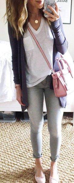 white v neck oversized tee with grey longline cardigan