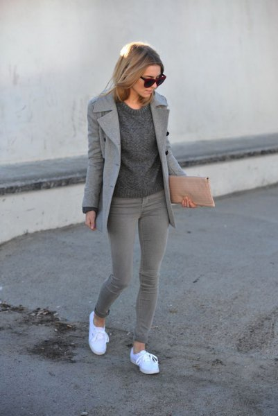 wool coat with crew neck knit sweater and grey skinny ankle jeans