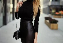 best faux leather skirt outfit ideas for women