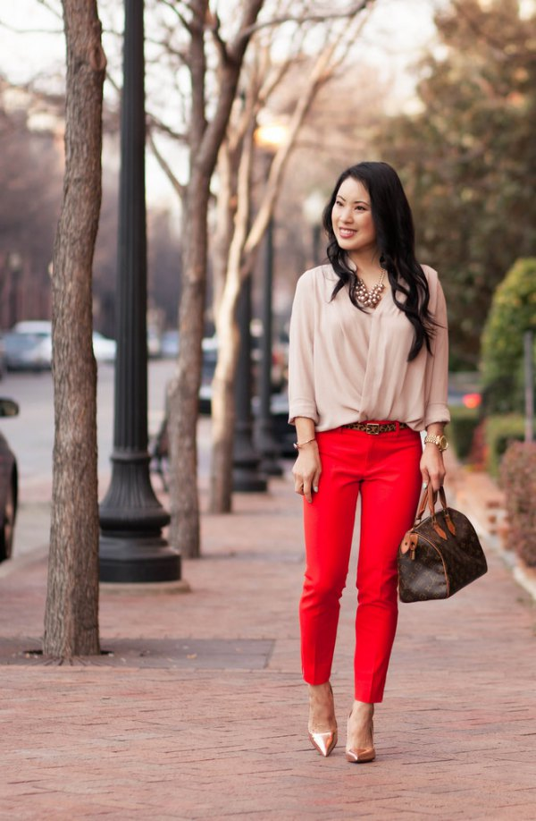 best red pants outfit ideas for women