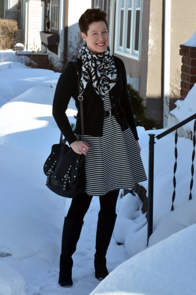 black and grey striped belted tunic dress with knee high boots