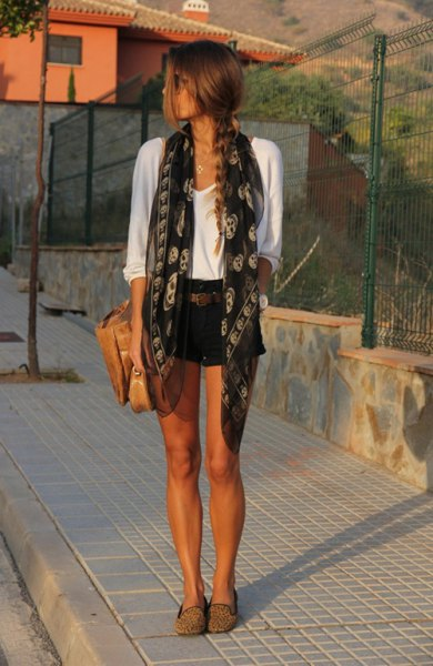 black and grey tribal printed silk scarf with white tee