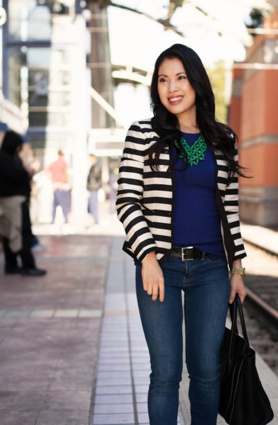 black and white striped blazer with navy blue chiffon blouse