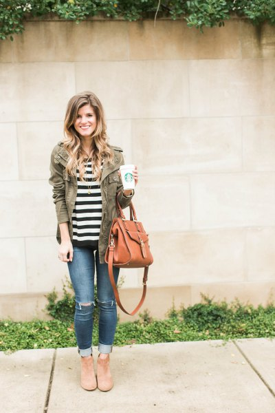 black and white striped t shirt with grey fall jacket