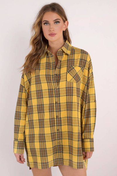 black and yellow plaid button up shirt dress with mini shorts
