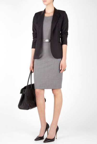 black blazer with grey belted sheath knee length dress