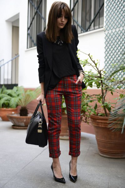 black blazer with red plaid cuffed skinny pants